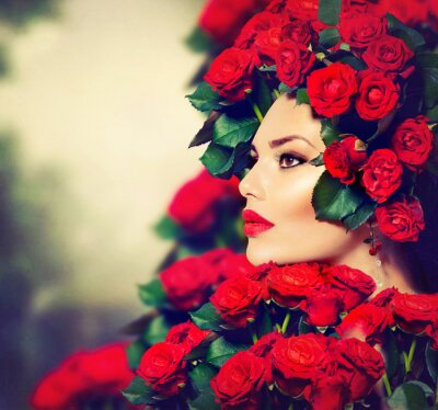 Canvas print Beauty Fashion Model Girl Portrait with Red Roses Hairstyle