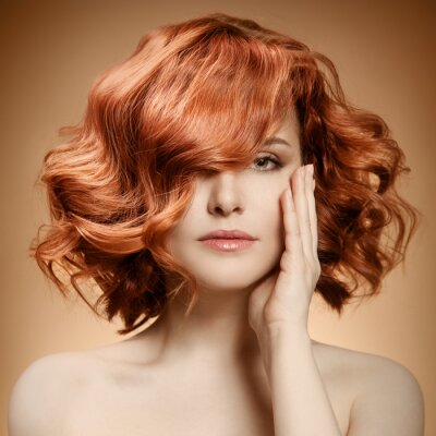Canvas print Beauty Portrait. Curly Hair