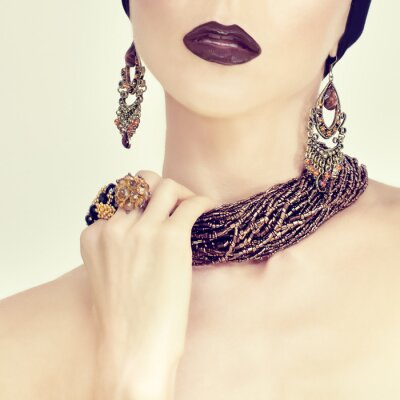 Canvas print beauty portrait of a sensual girl in jewelry
