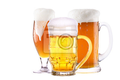 Beer glass set isolated background