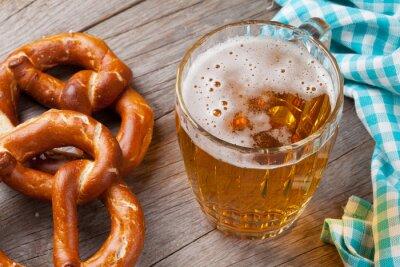 Canvas print Beer mug and pretzel