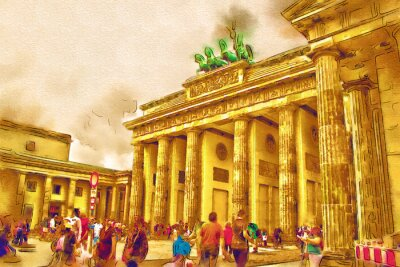 Canvas print Berlin art illustration