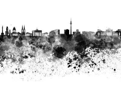 Canvas print Berlin skyline in black watercolor