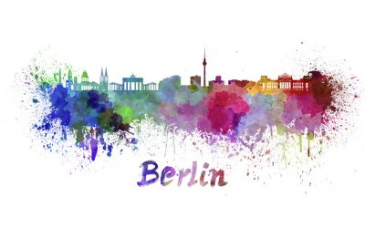 Canvas print Berlin skyline in watercolor