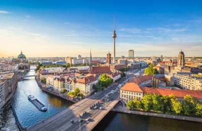 Canvas print Berlin skyline panorama with TV tower and Spree river at sunset, Germany