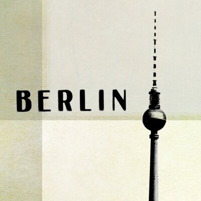 Canvas print Berlin Vintage postcard - tv tower and letters on abstract backg