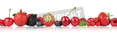 Berry fruits border strawberry raspberry, blueberry bilberry cherries in a row isolated on a white background