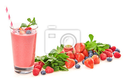 Berry fruits detox fresh smoothie. Colorfull healthy eating diet concept. Raw mixed red berries vegan smoothie food background, creative set strawberry, raspberry, blueberry, mint isolated on white