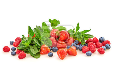 Berry fruits mix healthy eating diet concept. Fresh raw juicy food background, creative set strawberry, raspberry, blueberry isolated on white. Forest berries juicy ingredients