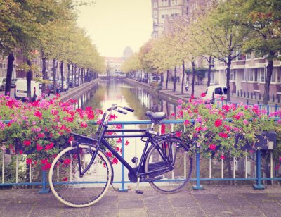 Canvas print bicycle on a bridge