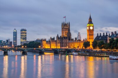 Canvas print Big Ben and Westminster Bridge at dusk, London, UK