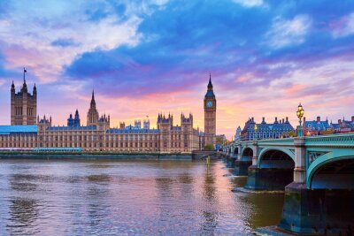 Canvas print Big Ben and Westminster Bridge with river Thames