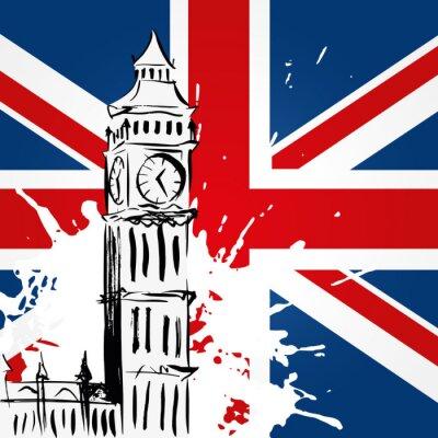 Canvas print Big Ben devant l'Union Jack
