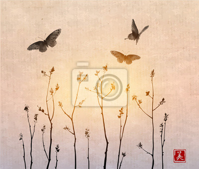 Big black butterflies and tree branches with fresh leaves on sunrise background. Traditional oriental ink painting sumi-e, u-sin, go-hua. Contains hieroglyph - beauty