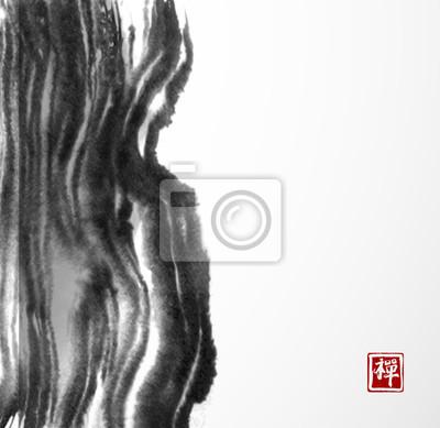 Big black grunge ink wash splash on white background. Traditional Japanese ink painting sumi-e. Contains hieroglyph - zen