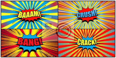 Big collection of comic backgrounds with colorful speech bubbles Bam Bang Crush Crack wordings sound radial rays and halftone effects. Vector illustration