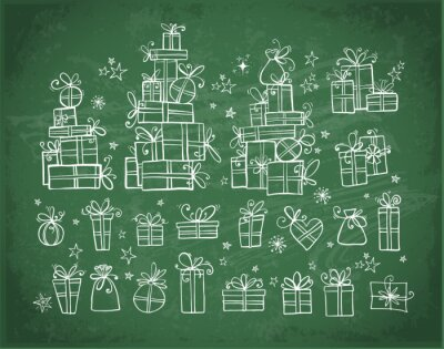 Big collection of doodle gift boxes hand drawn with white chalk on blackboard background.