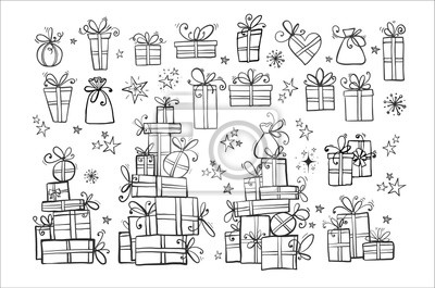 Big collection of doodle gift boxes on white background.