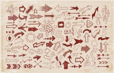 Big collection of doodle sketch arrows in vintage style.