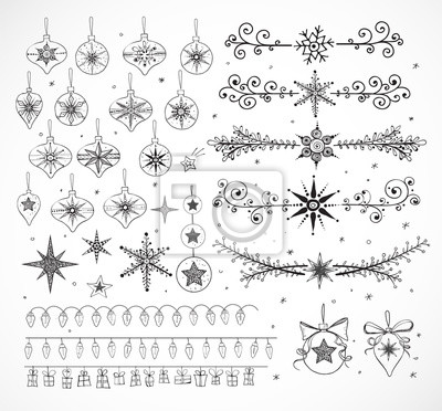 Big collection of doodle sketch Christmas decorations isolated on white background. Garlands, Christmas balls, dividers etc