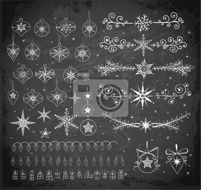 Big collection of doodle sketch Christmas decorations on blackboard background. Garlands, Christmas balls, dividers etc
