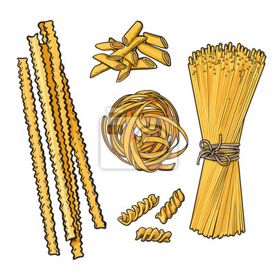 Big collection of italian pasta sketch style vector illustration isolated on white background. Set of spiral penne spaghetti mafalda pappardelle tagliatelle pasta. Different types of italian noodles