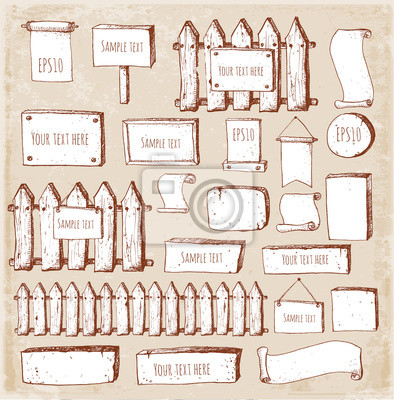 Big collection of sketch rustic backgrounds.