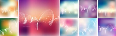 Big collection of vector backgrounds with blurred bokeh and dynamic wave swirls