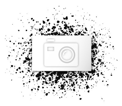 Big grunge black splash texture with place for your text on white background