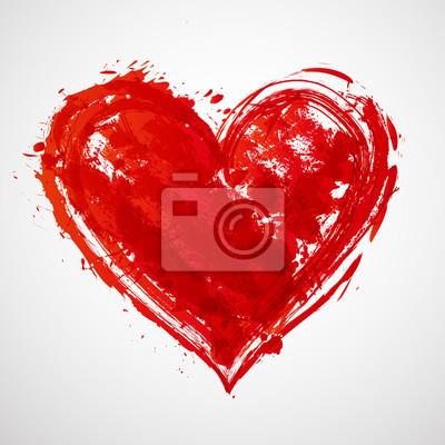 Big red grunge heart on white background