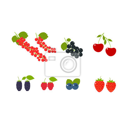 Big set of juicy berries, strawberry, raspberry, cherry, red currant, black currant, blueberries and blackberry isolated