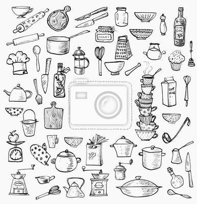 Big set of kitchen utensils hand-drawn on white