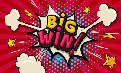 Canvas print Big Win! Pop art cloud bubble. Funny speech shopping sale icon bubble. Trendy Colorful retro vintage comic background in pop art retro comic style. Illustration easy editable for Your design.