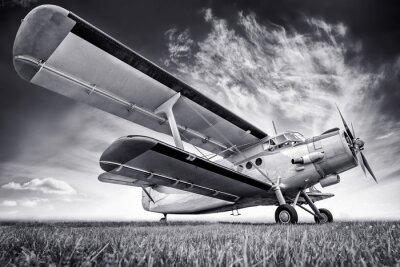 Canvas print biplane against a sky