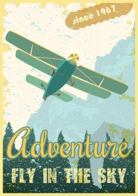 Canvas print Biplane retro poster