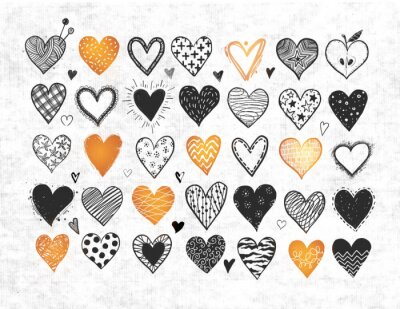 Black and gold doodle hearts on white textured background