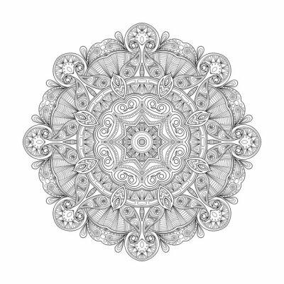Canvas print Black and white abstract circular ethnic pattern mandala.