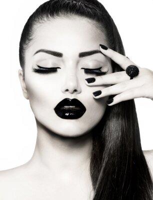 Canvas print Black and White Brunette Girl Portrait. Trendy Caviar Manicure