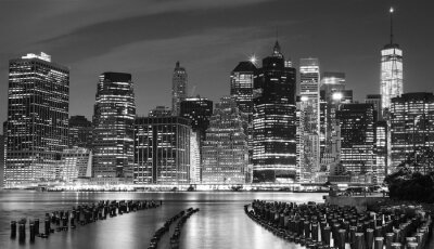 Canvas print Black and white photo of Manhattan waterfront, NYC, USA.