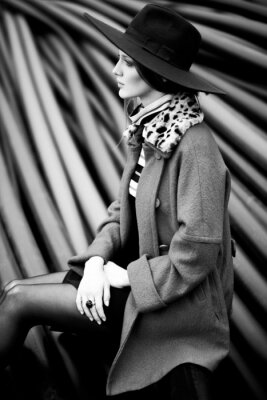 Canvas print black and white woman fashion