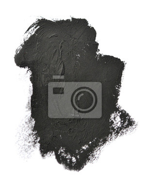 Black brush strokes oil paints on white paper isolated. Abstract creative background
