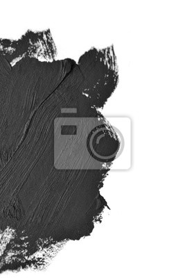 black brush strokes oil paints on white paper macro. Isolated on white background. Creative background