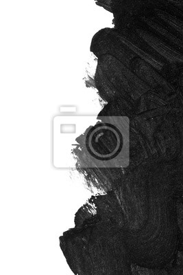 Black brush strokes on white paper isolated. Black brush strokes oil paints on white paper. Isolated on white background. Abstract creative white black background