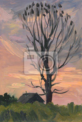 Canvas print Black house and the black tree at sunset. Oil painting