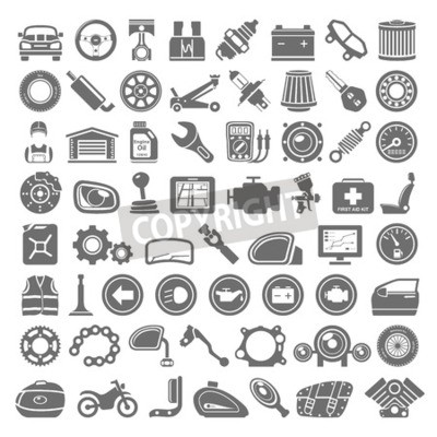 Canvas print Black Icons - Car and Motorcycle Parts