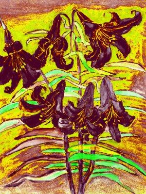 Canvas print Black lilies
