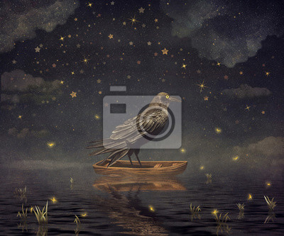 Canvas print Black Raven in a boat at the river magical night , illustration art