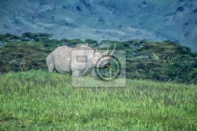 Black rhinoceroses,digital oil painting