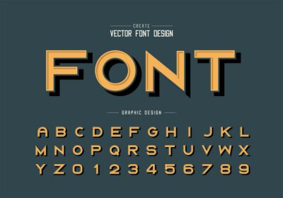 Canvas print Black shadow font and alphabet vector, Bold typeface letter and number design