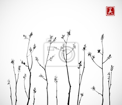 Black Tree branches with fresh leaves on white background. Traditional oriental ink painting sumi-e, u-sin, go-hua. Contains hieroglyph - happiness